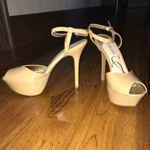 Nude Sam and Libby Pump Open Toe Heels